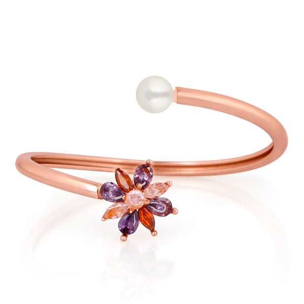Mahi RoseGold Plated Floral Exclusive Adjustable Bracelet with Cubic Zirconia stones