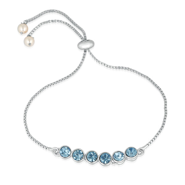 Mahi Rhodium Plated Gleaming Blue Solitaire Crystal Adjustable Bracelet