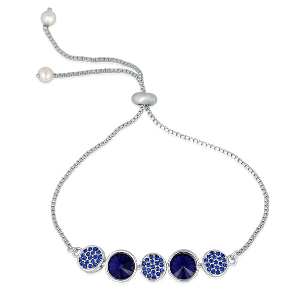 Mahi Rhodium Plated Exclusive Gleaming Crystal Link Bracelet for girls and women