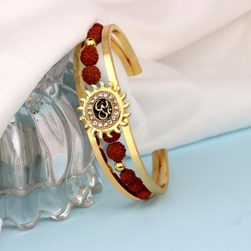 Mahi Om Sun Cuff Kada Bracelet with Rudraksh and Crystal for Men BR1100422G