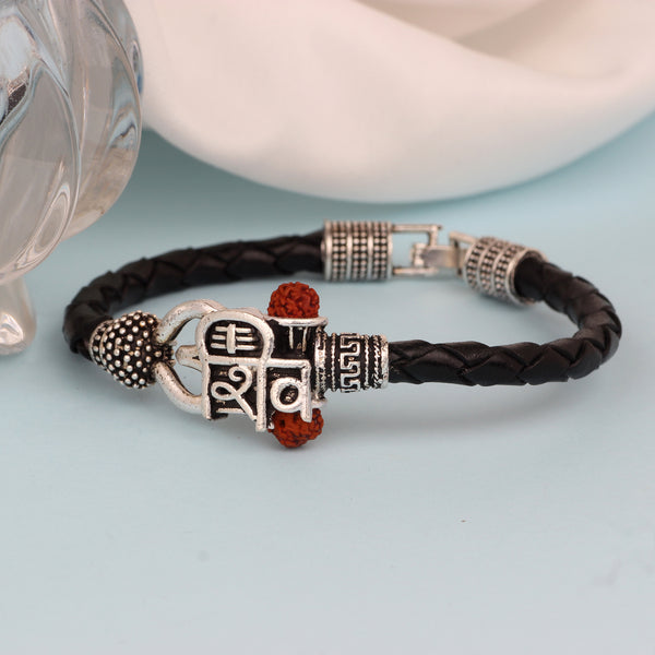 Mahi Lord Shiv Mahakal Shiva Trisul, Rudraksh Leather Bracelet Kada for Men (BR1100423R)