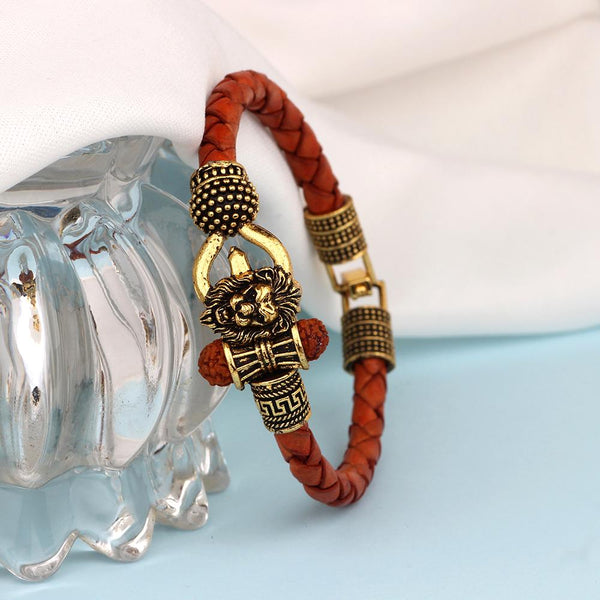 Mahi Lord Shiv Trishul Damru Narasimha Rudraksh Leather Bracelet Kada for Men (BR1100424G)