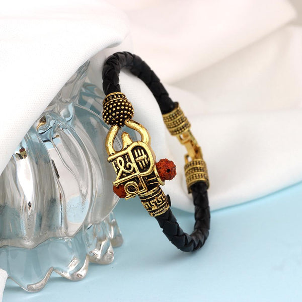 Mahi Lord Shiv Mahakal Shiva Trisul, Rudraksh Leather Bracelet Kada for Men (BR1100429G)