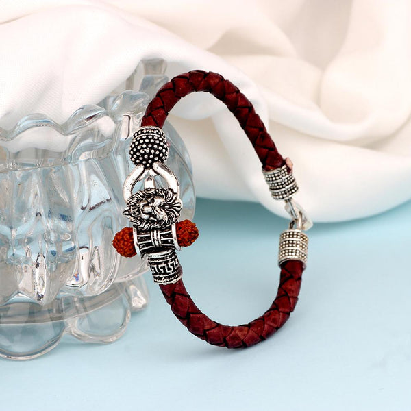 Mahi Lord Shiv Trishul Damru Narasimha Rudraksh Leather Bracelet Kada for Men (BR1100430R)