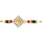 Mahi Gold Plated Golden Square Rakhi with crystals & artificial pearl