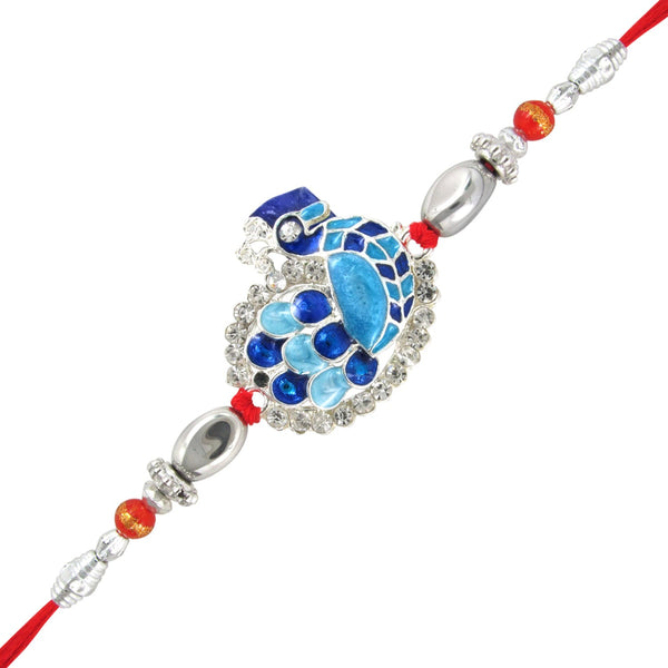 Mahi Rhodium Plated Peacock Delight Rakhi with crystals