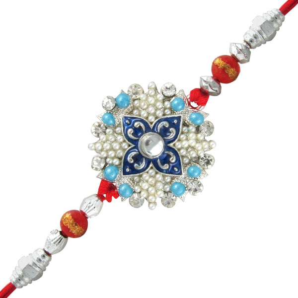 Mahi Rhodium Plated Florid Rakhi with Crystals and Artificial Pearls