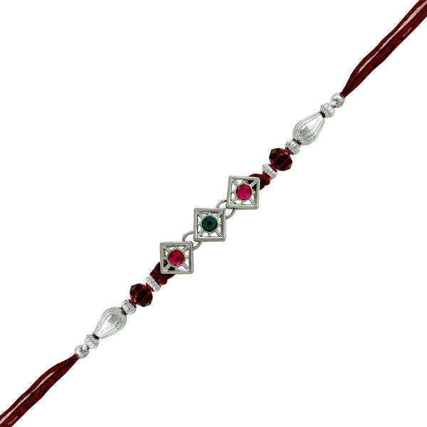Mahi Rhodium Plated Trio Crystal Rakhi for beloved brother