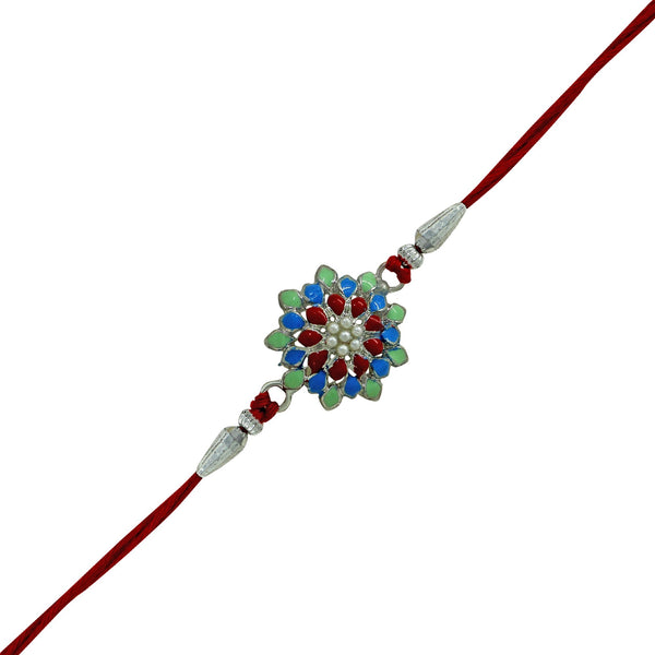 Mahi Rhodium Plated Meenakari Flower Rakhi for Adorable Brother