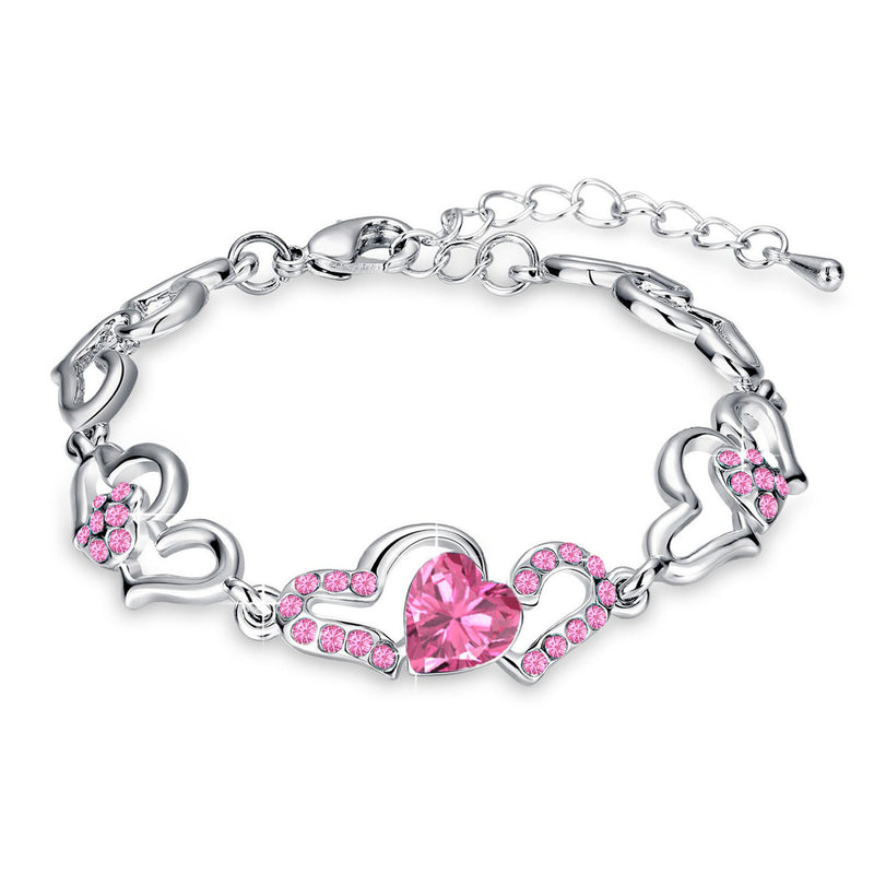 Mahi Rhodium Plated Valentine Collection Lovely Heart Link Bracelet with Pink Crystal stones