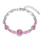 Mahi Rhodium Plated Valentine Collection Magical Love Heart Bracelet with Pink Crystal Stones
