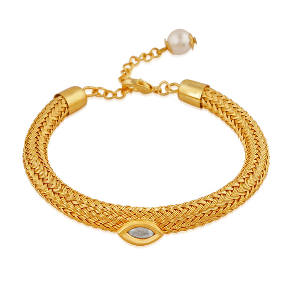 Mahi Gold Plated Traditional Adjustable Crystal Bracelet for girls and women