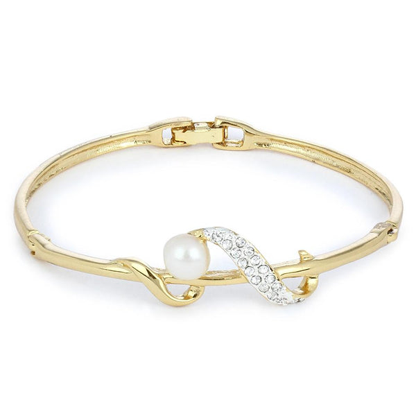 Estele 24Kt Gold And Silver Plated White Crystal Stone And Imitation Pearl Studded Bracelet Cuff