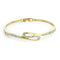 Estele 24Kt Gold And Silver Tone Plated White Stone Cuff Bracelet
