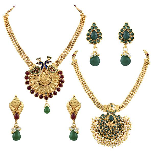 Asmitta Very Attractive Multi Stones Gold Plated Necklace Set Combo