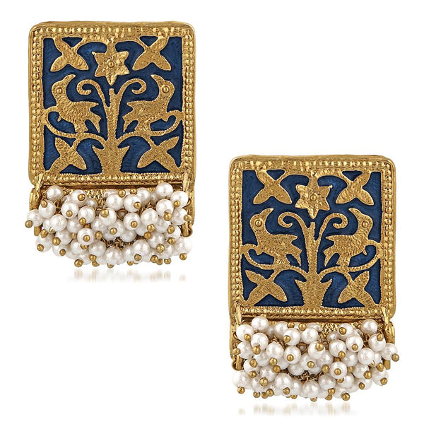 Mahi Ethnic Meenakari Work Rectangular Shape Dangler Earring with Artificial Pearl for Women VECJ100138Blu