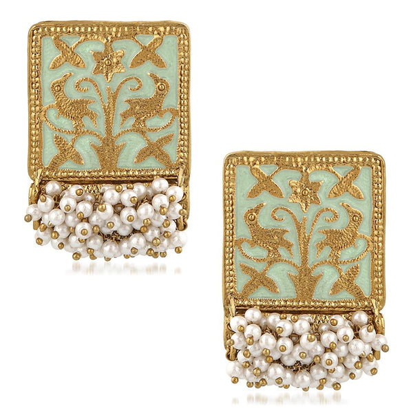 Mahi Ethnic Meenakari Work Rectangular Shape Dangler Earring with Artificial Pearl for Women VECJ100138Fir