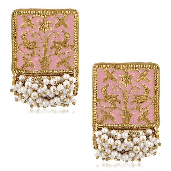 Mahi Ethnic Meenakari Work Rectangular Shape Dangler Earring with Artificial Pearl for Women VECJ100138Pin