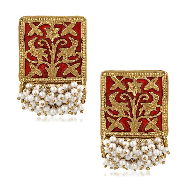 Mahi Ethnic Meenakari Work Rectangular Shape Dangler Earring with Artificial Pearl for Women VECJ100138Red