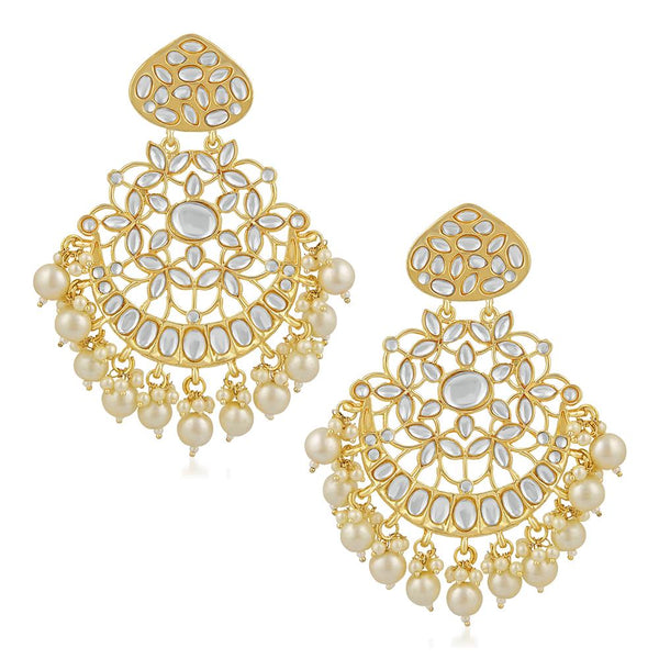 Mahi Ethnic Gold Plated White Kundan Chandbali Earring For Women VECJ100194