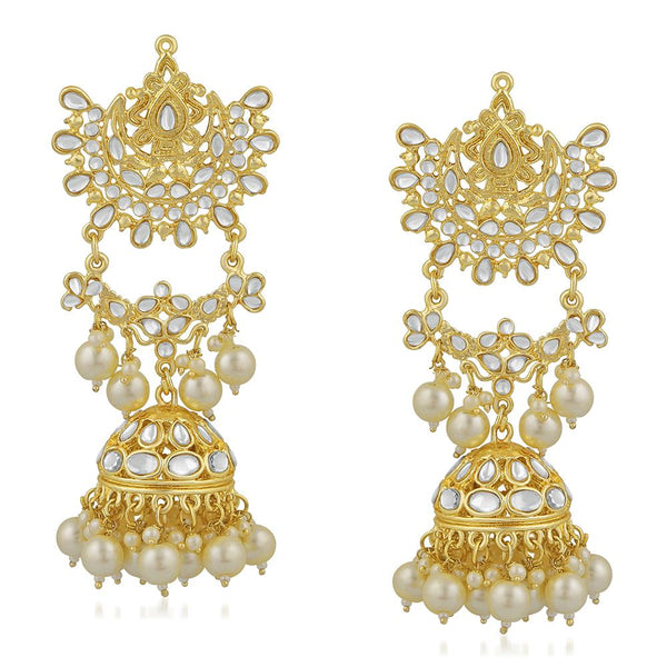 Mahi Ethnic Gold Plated White Kundan Long Dangler Jhumki Earring For Women VECJ100195