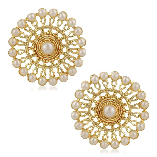 Mahi Traditional Gold Plated White Kundan Circular Stud Earring For Women VECJ100196