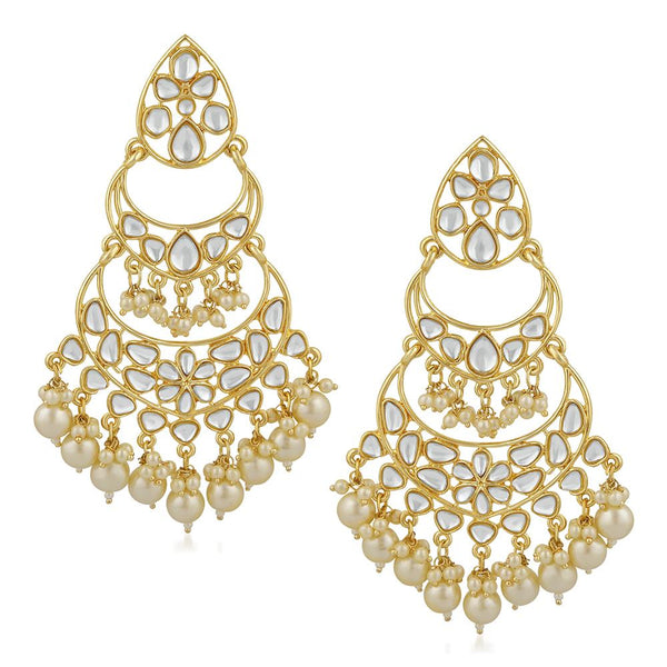 Mahi Ethnic Gold Plated White Kundan Chandbali Earring For Women VECJ100197