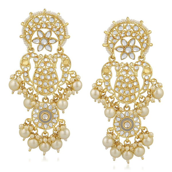 Mahi Gold Plated Traditional White Kundan Long Dangler Earring For Women VECJ100198
