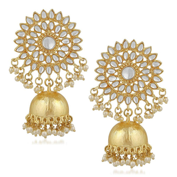 Mahi Traditional Gold Plated Floral Kundan Jhumki Earring For Women VECJ100199
