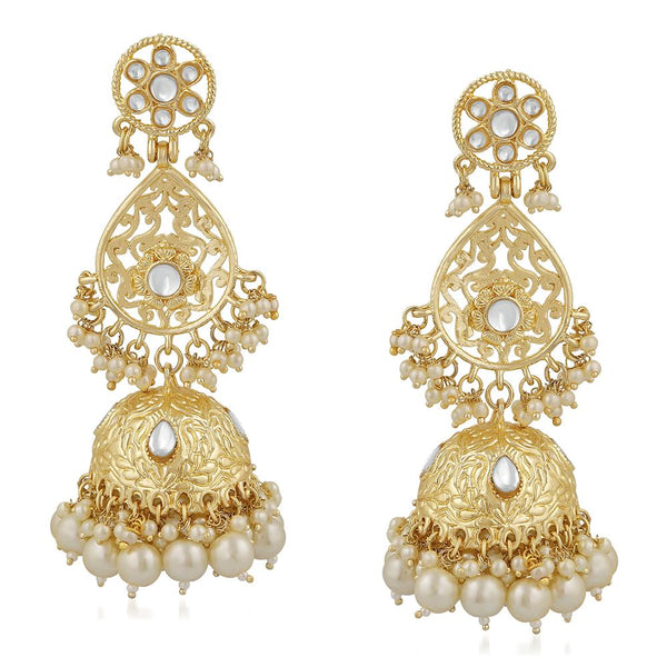 Mahi Ethnic Gold Plated White Kundan Long Dangler Jhumki Earring For Women VECJ100200