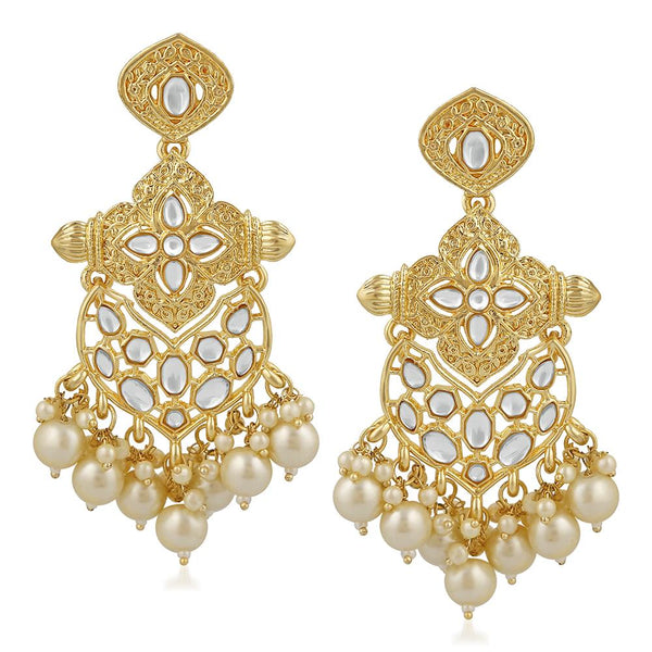 Mahi Ethnic Gold Plated White Kundan Dangler Earring For Women VECJ100201
