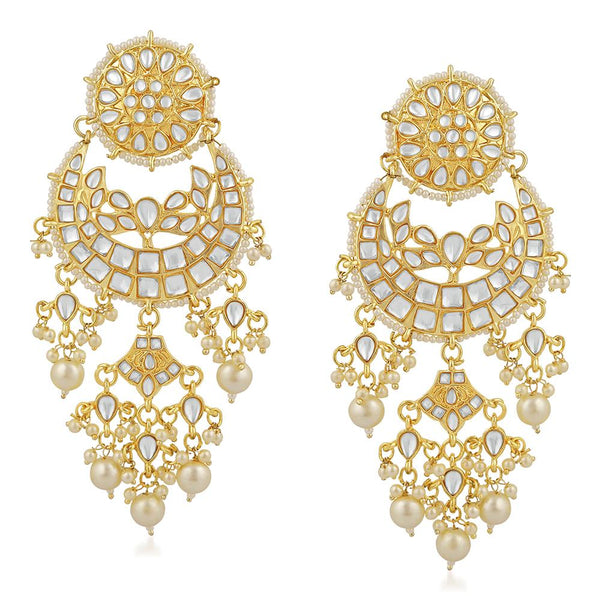 Mahi Gold Plated Traditional White Kundan Chandbali Long Dangler Earring For Women VECJ100202