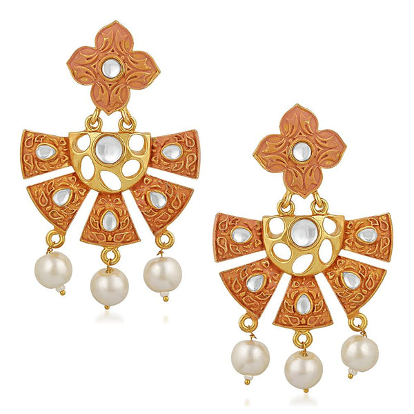 Mahi Traditional Gold Plated Floral Kundan Dangel Earring with Meenakari Work For Women VECJ100203