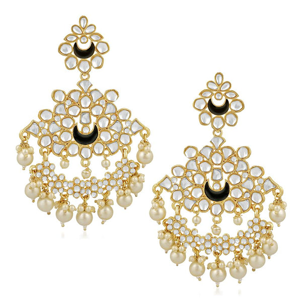 Mahi Ethnic Gold Plated White Kundan Chandbali Earring For Women VECJ100204