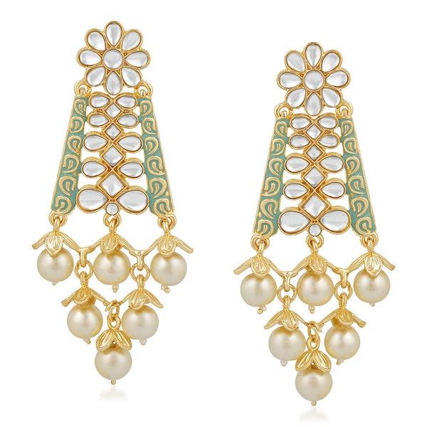 Mahi Ethnic Gold Plated White Kundan Floral Triangular Green Meenakari Work Dangler Earring For Women VECJ100205