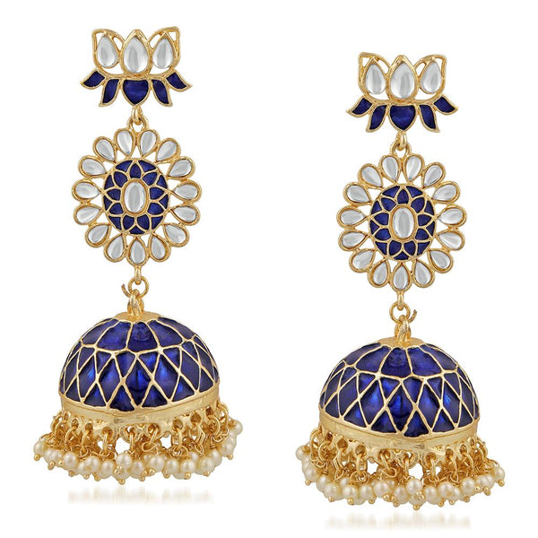 Mahi Ethnic White Kundan Lotus Flower Shaped Blue Meenakari Work Dangler Jhumki Earring For Women VECJ100206BLU