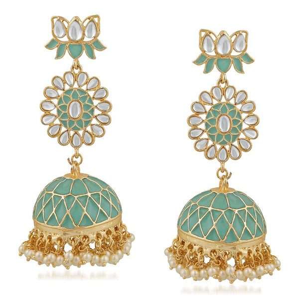 Mahi Ethnic White Kundan Lotus Flower Shaped Green Meenakari Work Dangler Jhumki Earring For Women VECJ100206FRZ