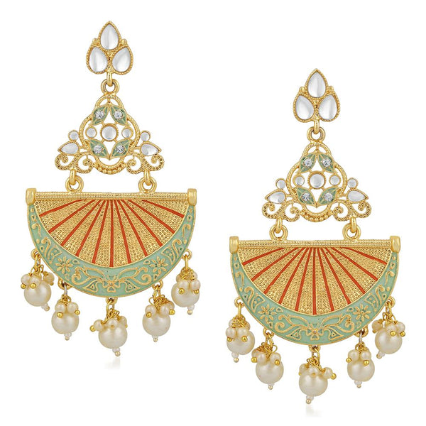 Mahi Gold Plated Traditional White Kundan Dangler Earring with Meenakri Work For Women VECJ100207