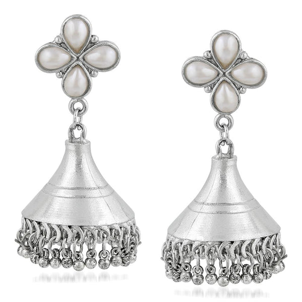 Mahi Oxidised Rhodium Plated Floral Dangler Jhumki Artificial Pearl Earrings for Women VECJ100208