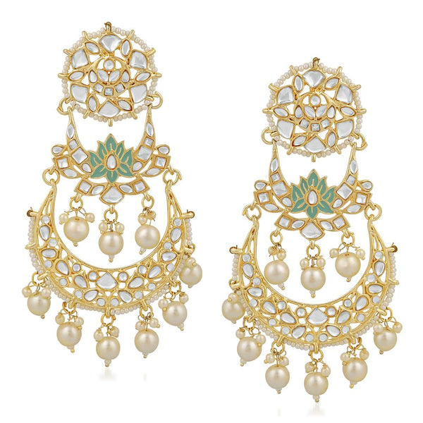 Mahi Ethnic Gold Plated White Kundan Chandbali Dangler Earring For Women VECJ100209