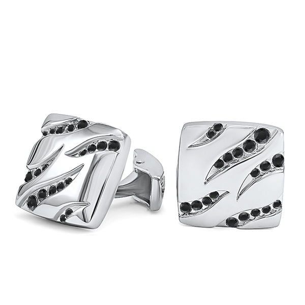 Mahi Rhodium Plated Valentine Gift Squarish Cufflinks with Black Crystals
