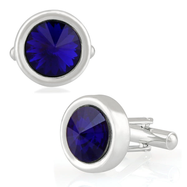 Mahi Rhodium Plated Royal Blue Solitaire Crystal Cufflink for mens and boys