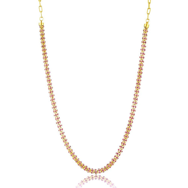 Mahi Traditional Ethnic Light Pink Crystal Beauty Chain with Crystal