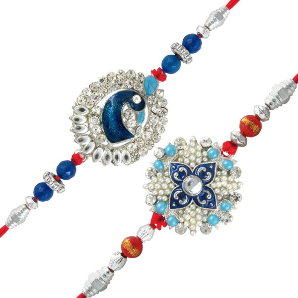 Mahi Combo of Fascinating Two Rakhis with Pearls for Dearest Brothers (Bracelet) CO1104267R