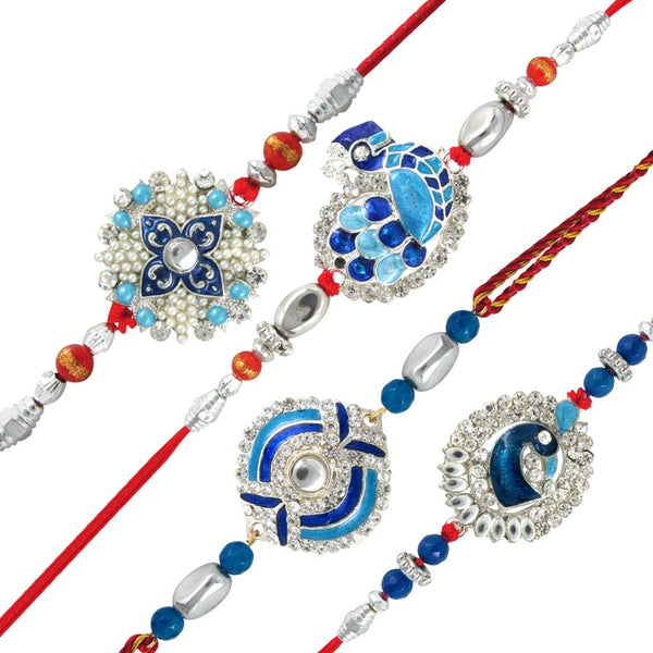 Mahi Combo of Peacock Four Rakhis for Dearest Brothers (Bracelet) CO1104285R