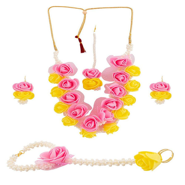 Mahi Floral Necklace Set With Beads