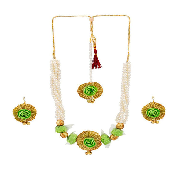 Mahi Floral And Leaves Necklace Set With Beads