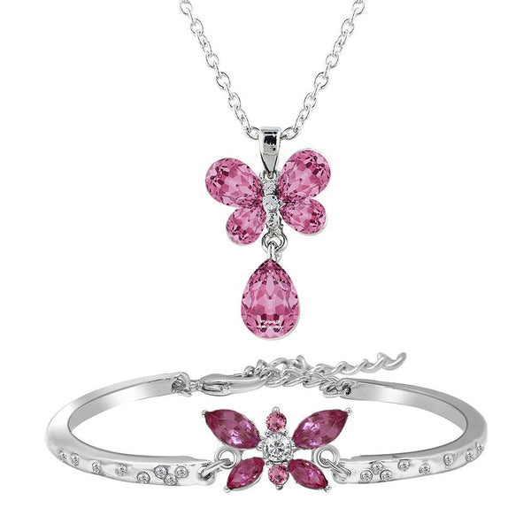 Mahi Combo of Pink Butterfly Bracelet and Pendant with chain