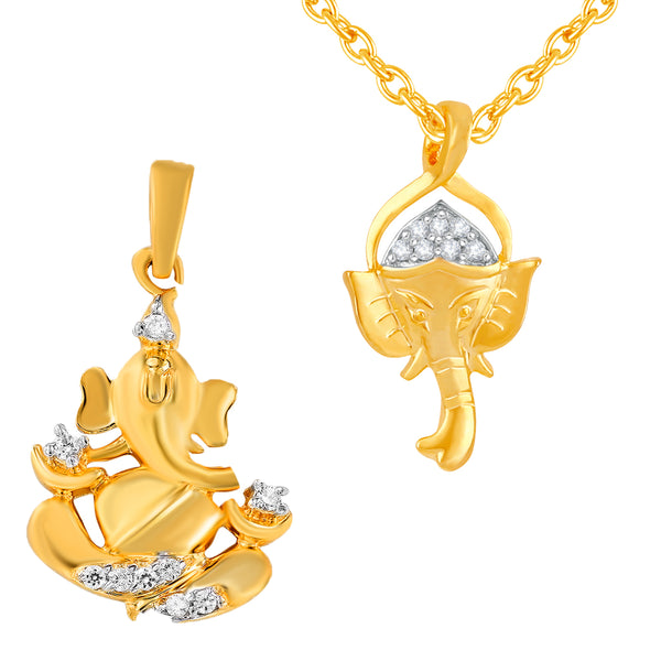 Mahi Gold Plated Combo of Vignaharta Ganesh Unisex Pendant with Cubic Zirconia