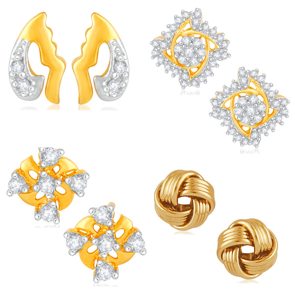 Mahi Combo of Floral Love Designer Stud Earrings with Cubic Zirconia for Women and Girls